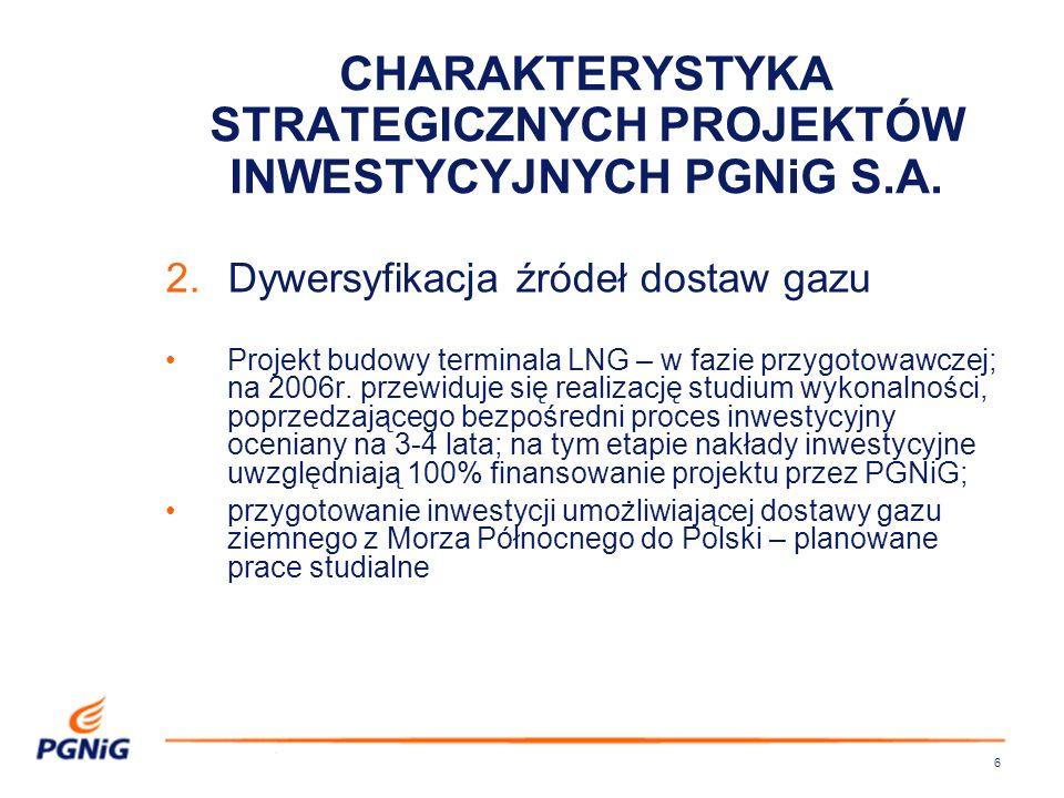 6 2.Dywersyfikacja źródeł dostaw gazu Projekt budowy terminala LNG – w fazie przygotowawczej; na 2006r.