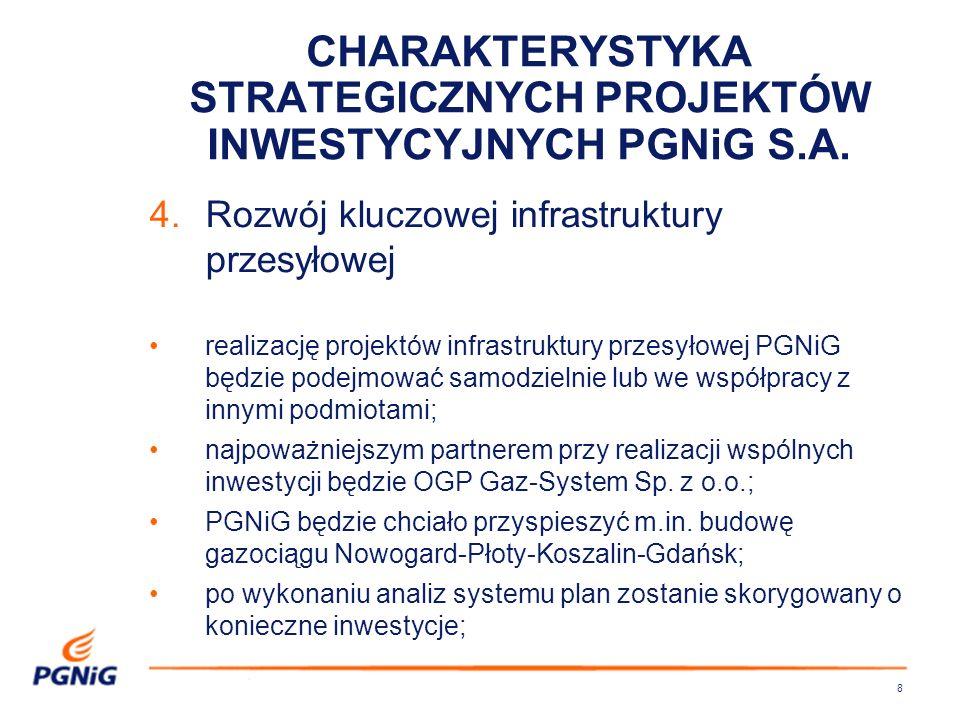 8 4.Rozwój kluczowej infrastruktury przesyłowej realizację projektów infrastruktury przesyłowej PGNiG będzie podejmować samodzielnie lub we współpracy z innymi podmiotami; najpoważniejszym partnerem przy realizacji wspólnych inwestycji będzie OGP Gaz-System Sp.