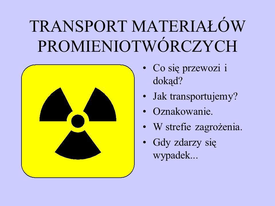 TRANSPORT MATERIAŁÓW PROMIENIOTWÓRCZYCH Co się przewozi i dokąd.