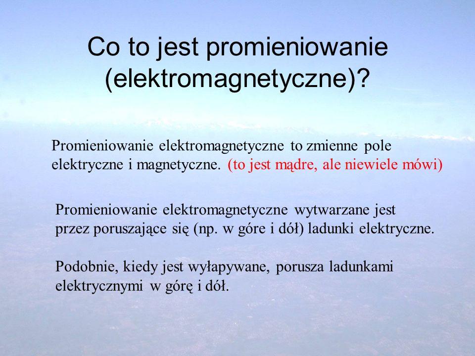 Co to jest promieniowanie (elektromagnetyczne)? Promieniowanie elektromagnetyczne to zmienne pole elektryczne i magnetyczne. (to jest mądre, ale niewi
