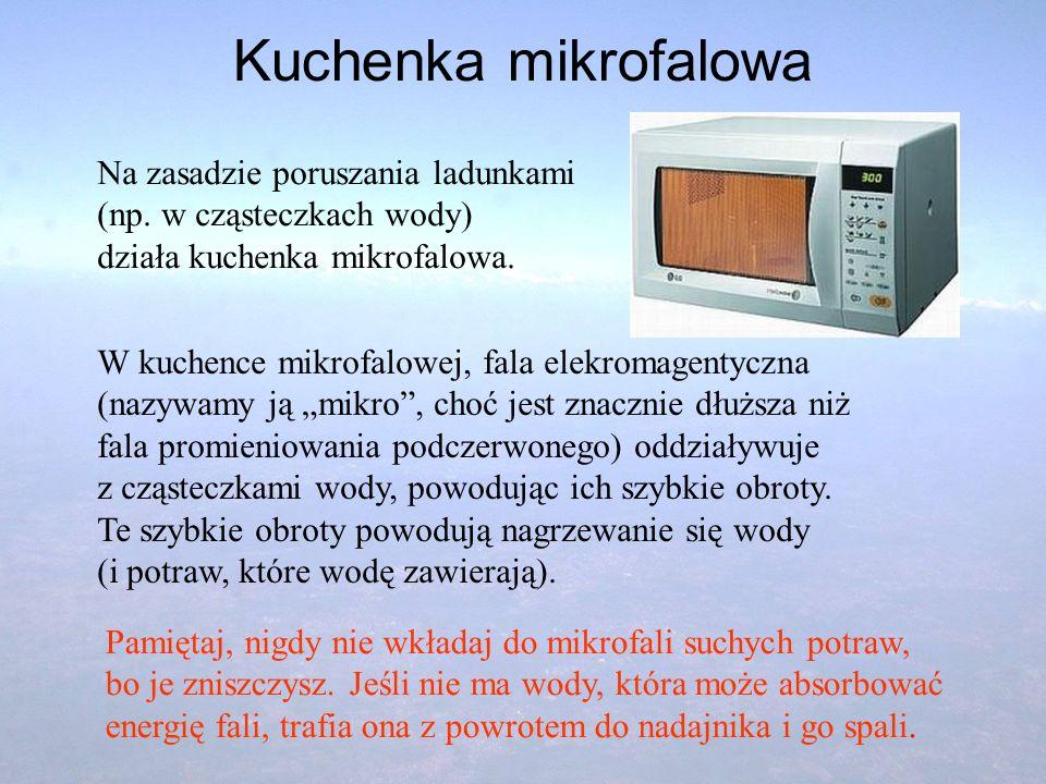 Kuchenka mikrofalowa Na zasadzie poruszania ladunkami (np. w cząsteczkach wody) działa kuchenka mikrofalowa. W kuchence mikrofalowej, fala elekromagen