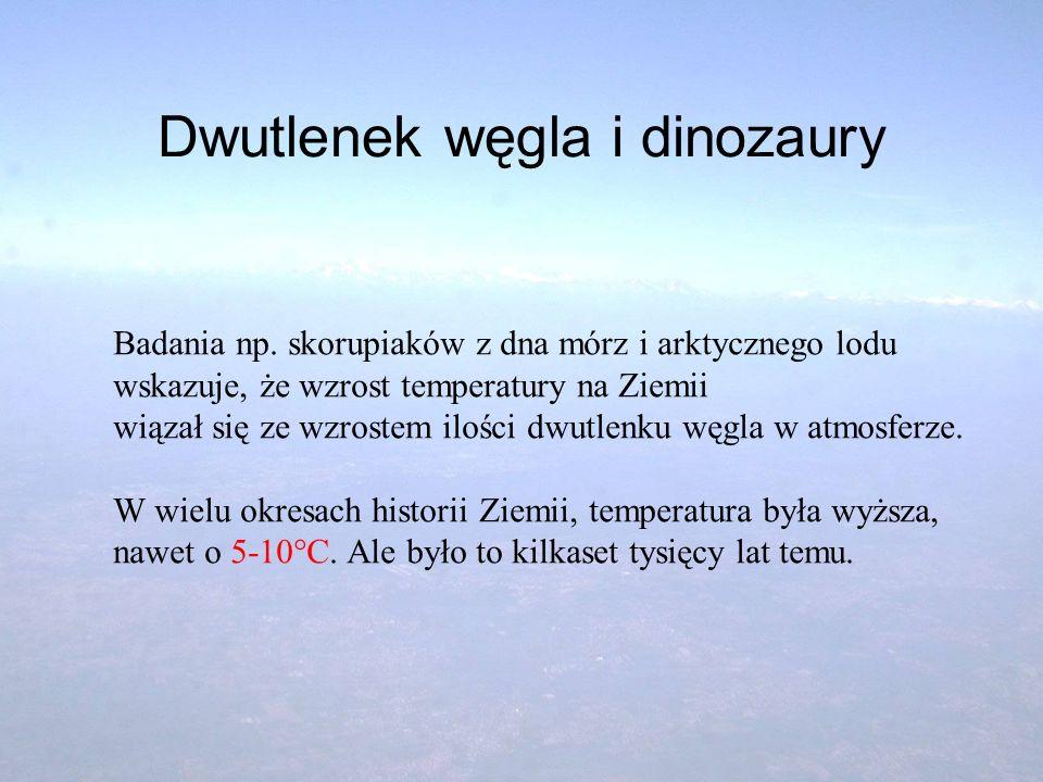 Dwutlenek węgla i dinozaury Badania np. skorupiaków z dna mórz i arktycznego lodu wskazuje, że wzrost temperatury na Ziemii wiązał się ze wzrostem ilo