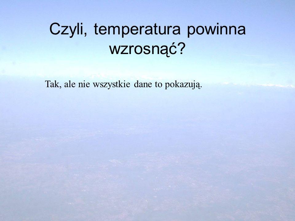Czyli, temperatura powinna wzrosnąć? Tak, ale nie wszystkie dane to pokazują.