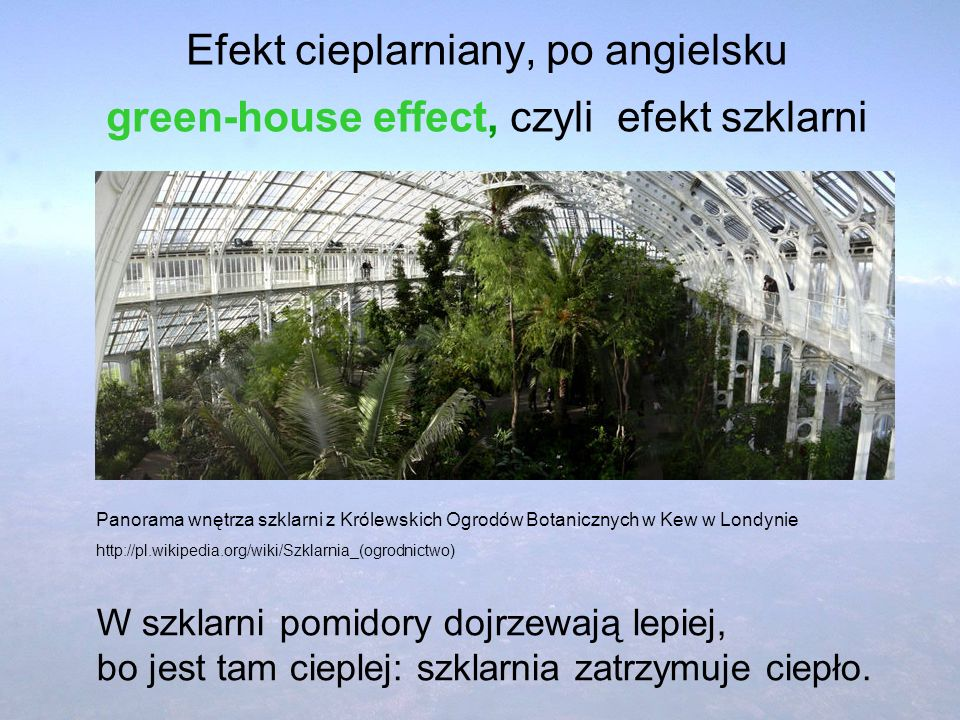 Efekt cieplarniany, po angielsku green-house effect, czyli efekt szklarni W szklarni pomidory dojrzewają lepiej, bo jest tam cieplej: szklarnia zatrzy