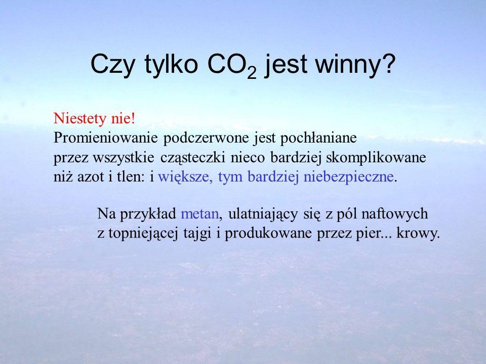 Czy tylko CO 2 jest winny? Niestety nie! Promieniowanie podczerwone jest pochłaniane przez wszystkie cząsteczki nieco bardziej skomplikowane niż azot