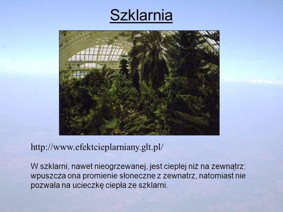 Szklarnia http://www.efektcieplarniany.glt.pl/ W szklarni, nawet nieogrzewanej, jest cieplej niż na zewnątrz: wpuszcza ona promienie słoneczne z zewna
