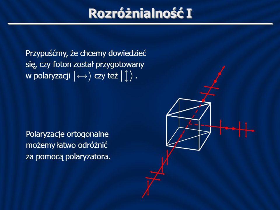 Rozróżnialność I Przypuśćmy, że chcemy dowiedzieć się, czy foton został przygotowany w polaryzacji czy też. Polaryzacje ortogonalne możemy łatwo odróż