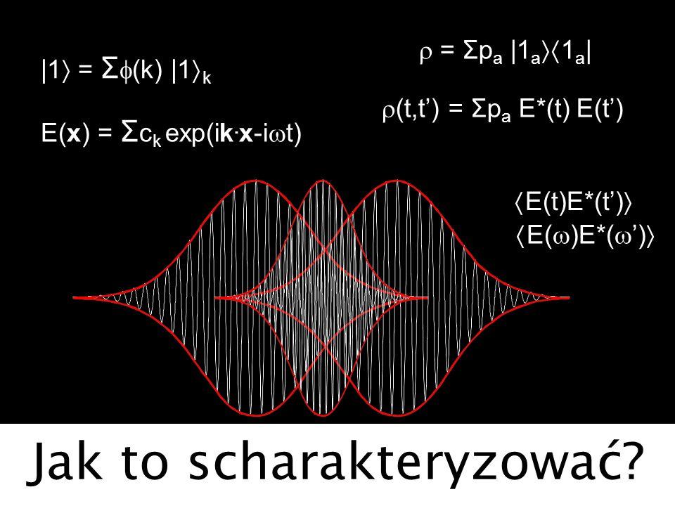 Jak to scharakteryzować? = Σp a |1 a 1 a | E(t)E*(t) |1 = Σ (k) |1 k E(x) = Σ c k exp(ik. x-i t) E( )E*( ) (t,t) = Σp a E*(t) E(t)