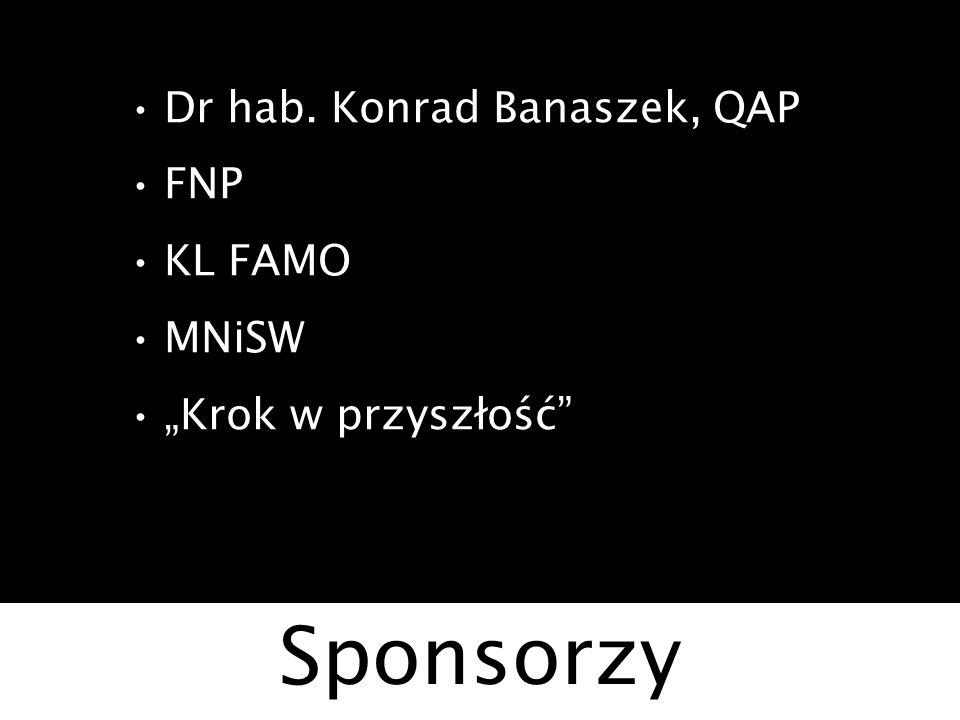 Sponsorzy Dr hab. Konrad Banaszek, QAP FNP KL FAMO MNiSW Krok w przyszłość