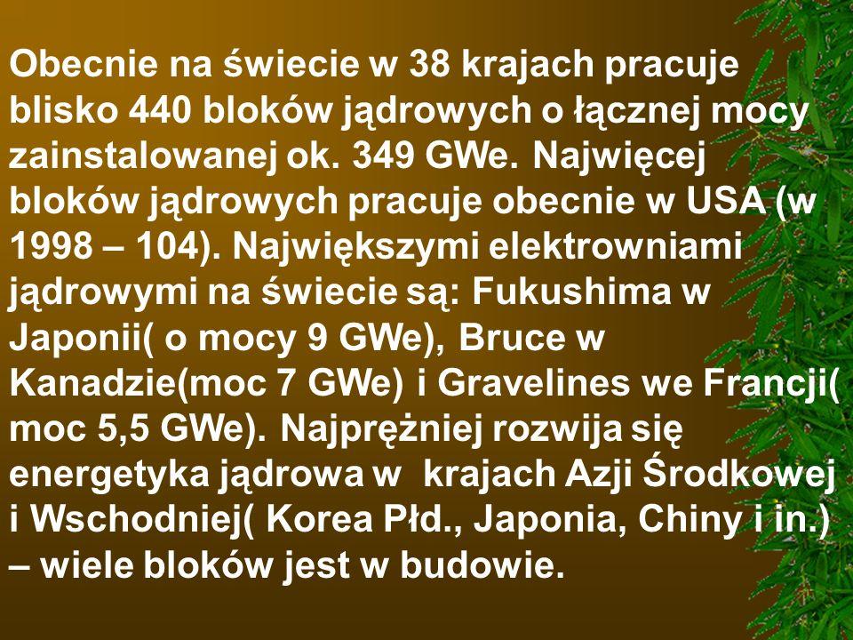 Obecnie na świecie w 38 krajach pracuje blisko 440 bloków jądrowych o łącznej mocy zainstalowanej ok. 349 GWe. Najwięcej bloków jądrowych pracuje obec