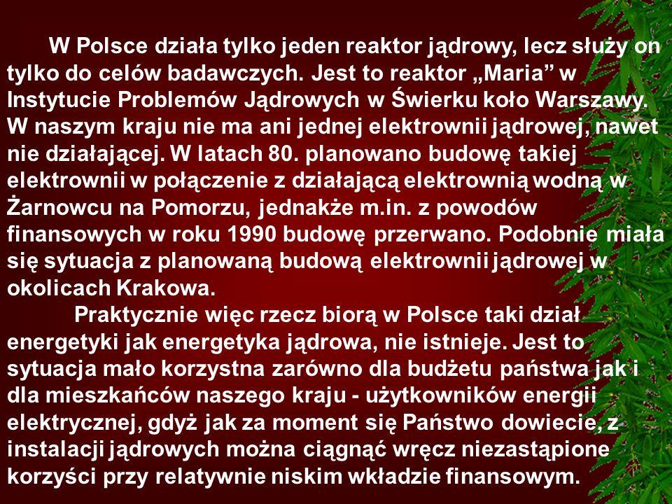 W Polsce działa tylko jeden reaktor jądrowy, lecz służy on tylko do celów badawczych. Jest to reaktor Maria w Instytucie Problemów Jądrowych w Świerku