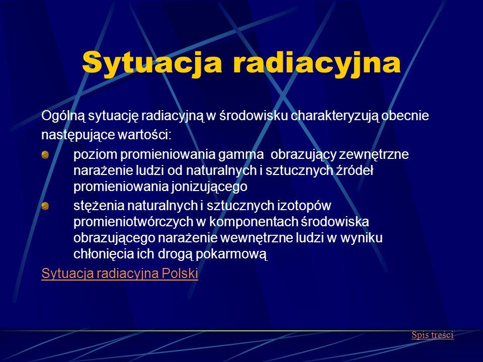 Sytuacja radiacyjna Ogólną sytuację radiacyjną w środowisku charakteryzują obecnie następujące wartości: poziom promieniowania gamma obrazujący zewnęt
