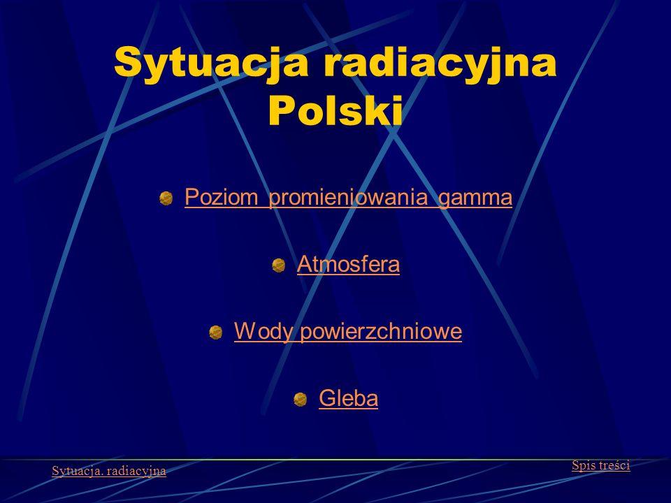 Sytuacja radiacyjna Polski Poziom promieniowania gamma Atmosfera Wody powierzchniowe Gleba Spis treści Sytuacja. radiacyjna