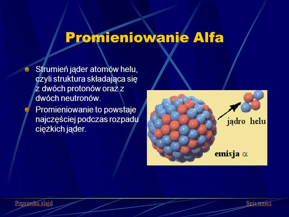 Promieniowanie Alfa Strumień jąder atomów helu, czyli struktura składająca się z dwóch protonów oraz z dwóch neutronów. Promieniowanie to powstaje naj