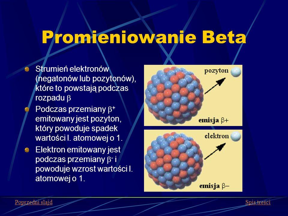 Promieniowanie Beta Strumień elektronów (negatonów lub pozytonów), które to powstają podczas rozpadu Podczas przemiany + emitowany jest pozyton, który