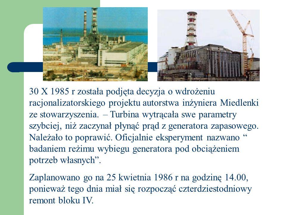 30 X 1985 r została podjęta decyzja o wdrożeniu racjonalizatorskiego projektu autorstwa inżyniera Miedlenki ze stowarzyszenia. – Turbina wytrącała swe