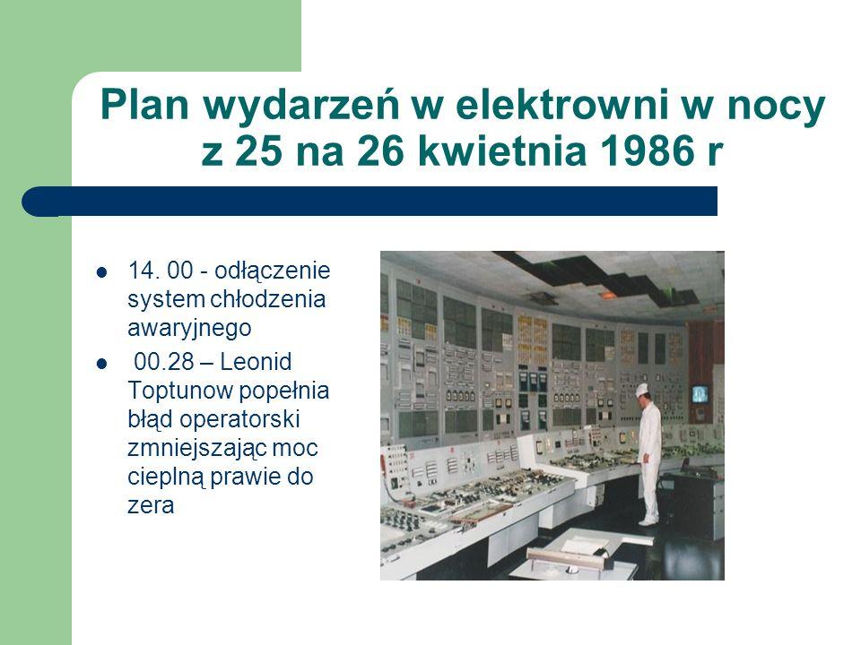 Plan wydarzeń w elektrowni w nocy z 25 na 26 kwietnia 1986 r 14. 00 - odłączenie system chłodzenia awaryjnego 00.28 – Leonid Toptunow popełnia błąd op