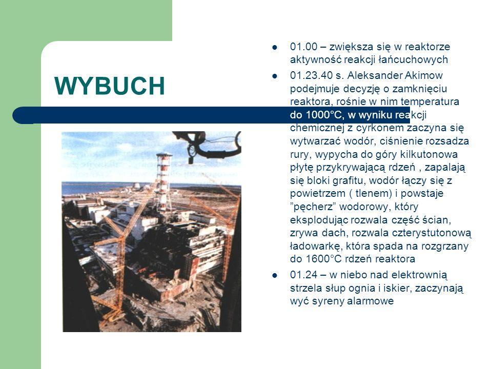 WYBUCH 01.00 – zwiększa się w reaktorze aktywność reakcji łańcuchowych 01.23.40 s. Aleksander Akimow podejmuje decyzję o zamknięciu reaktora, rośnie w