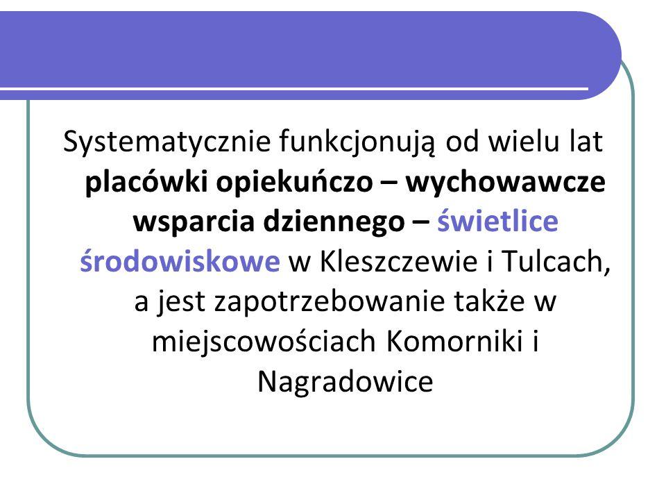 Systematycznie funkcjonują od wielu lat placówki opiekuńczo – wychowawcze wsparcia dziennego – świetlice środowiskowe w Kleszczewie i Tulcach, a jest zapotrzebowanie także w miejscowościach Komorniki i Nagradowice