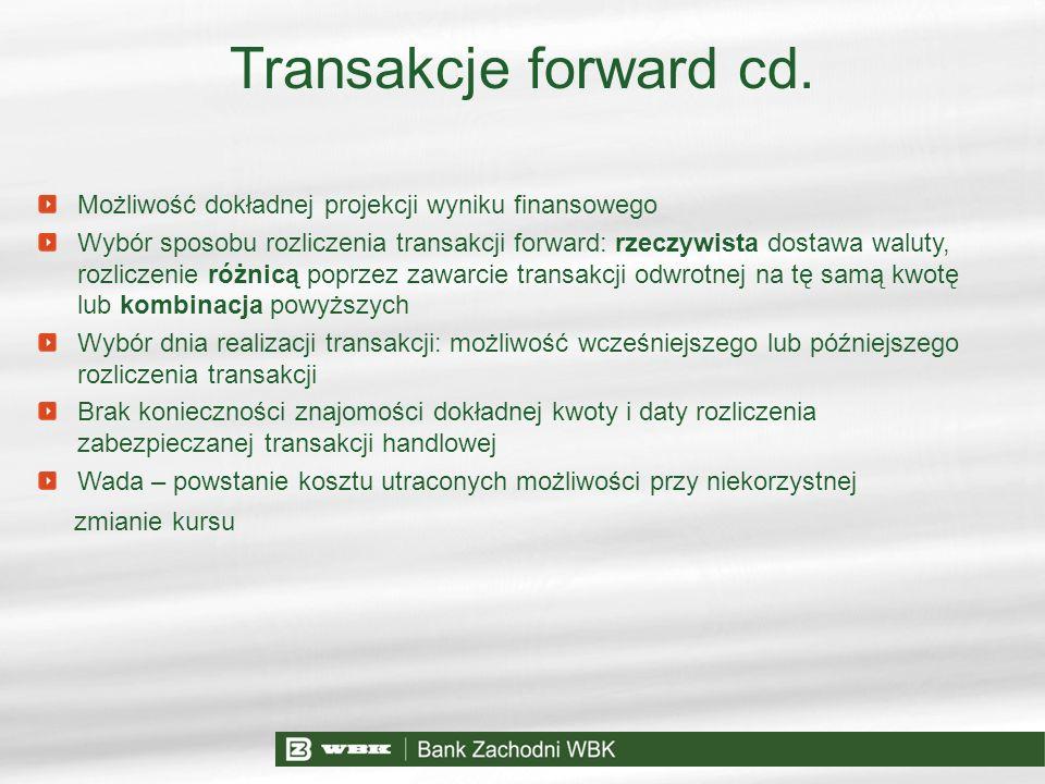 Transakcje forward cd. Możliwość dokładnej projekcji wyniku finansowego Wybór sposobu rozliczenia transakcji forward: rzeczywista dostawa waluty, rozl
