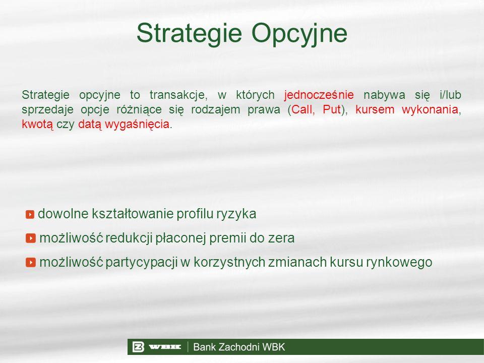 Strategie Opcyjne Strategie opcyjne to transakcje, w których jednocześnie nabywa się i/lub sprzedaje opcje różniące się rodzajem prawa (Call, Put), ku