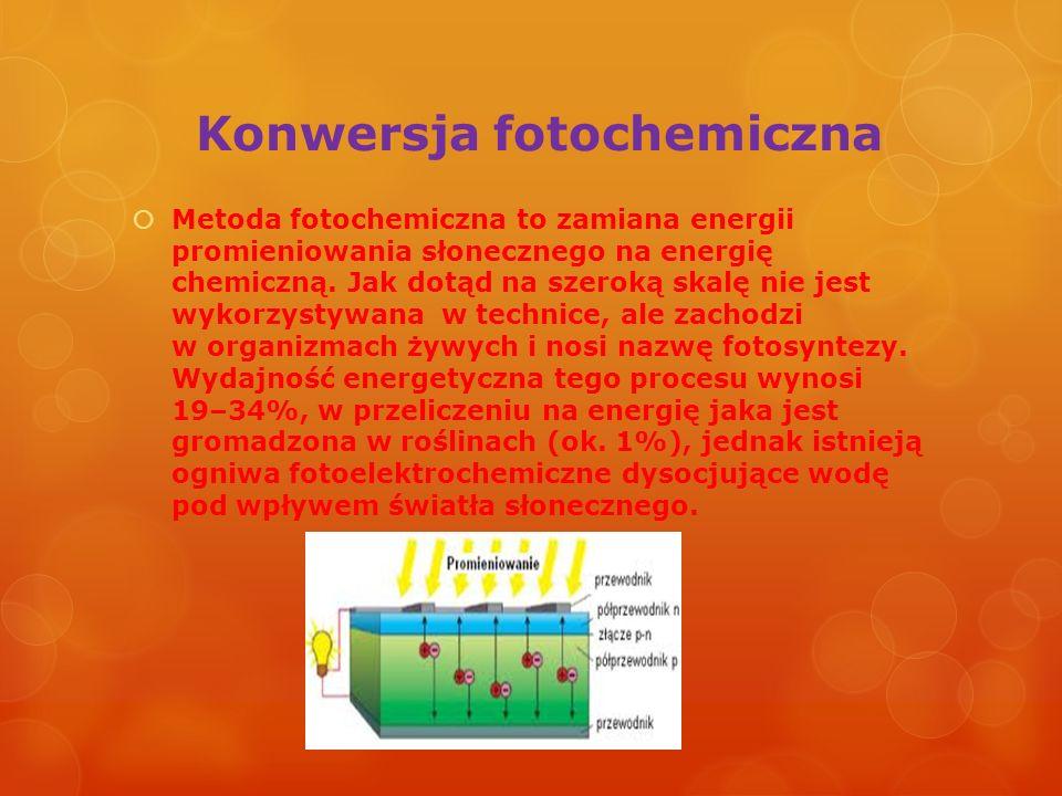 Konwersja fotochemiczna Metoda fotochemiczna to zamiana energii promieniowania słonecznego na energię chemiczną. Jak dotąd na szeroką skalę nie jest w
