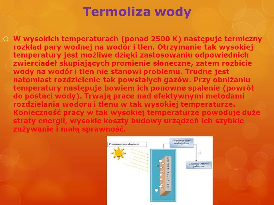 Termoliza wody W wysokich temperaturach (ponad 2500 K) następuje termiczny rozkład pary wodnej na wodór i tlen. Otrzymanie tak wysokiej temperatury je