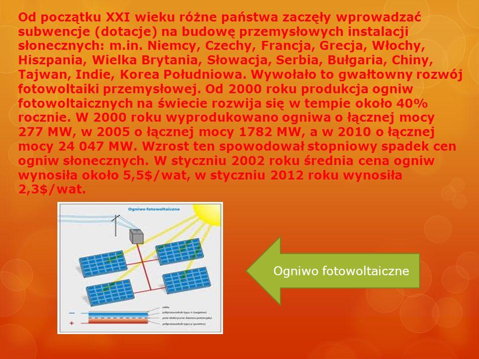 Od początku XXI wieku różne państwa zaczęły wprowadzać subwencje (dotacje) na budowę przemysłowych instalacji słonecznych: m.in. Niemcy, Czechy, Franc