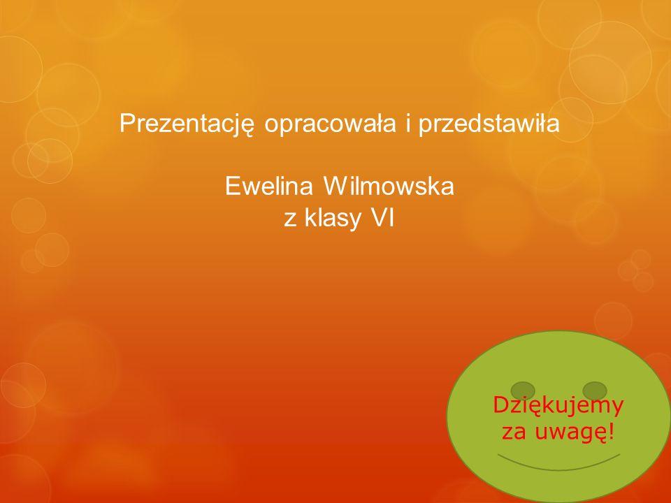 Prezentację opracowała i przedstawiła Ewelina Wilmowska z klasy VI Dziękujemy za uwagę!