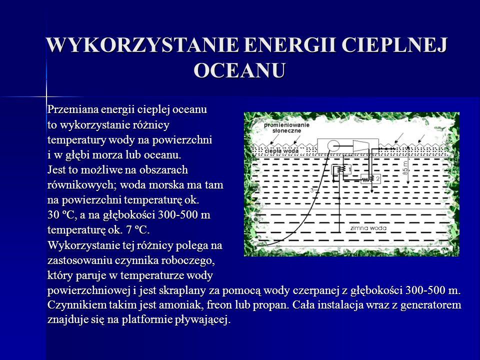 WYKORZYSTANIE ENERGII CIEPLNEJ OCEANU WYKORZYSTANIE ENERGII CIEPLNEJ OCEANU Przemiana energii cieplej oceanu to wykorzystanie różnicy temperatury wody