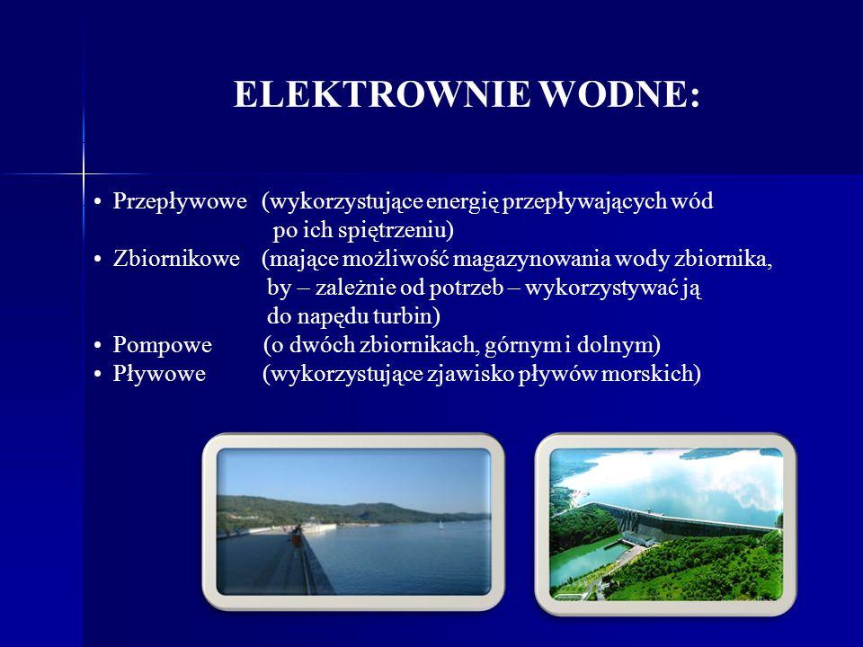Przepływowe (wykorzystujące energię przepływających wód po ich spiętrzeniu) Zbiornikowe (mające możliwość magazynowania wody zbiornika, by – zależnie