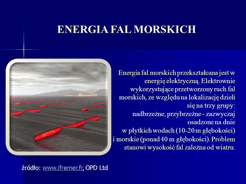 ENERGIA FAL MORSKICH Energia fal morskich przekształcana jest w energię elektryczną. Energia fal morskich przekształcana jest w energię elektryczną. E