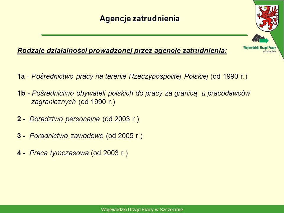 Wojewódzki Urząd Pracy w Szczecinie Agencje zatrudnienia Rodzaje działalności prowadzonej przez agencje zatrudnienia: 1a - Pośrednictwo pracy na teren