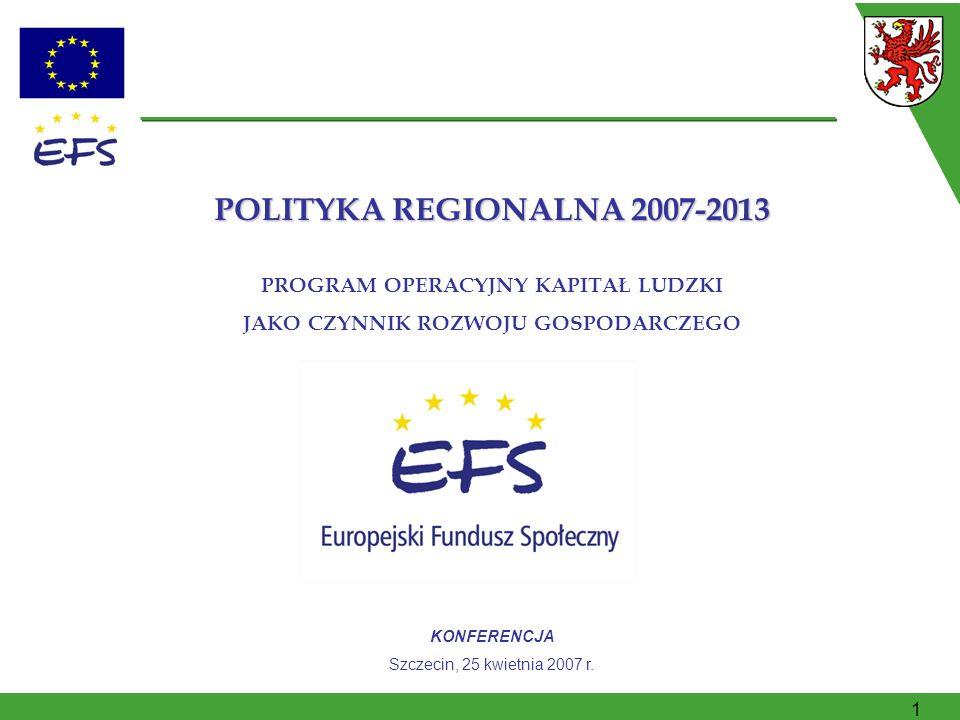 1 POLITYKA REGIONALNA 2007-2013 PROGRAM OPERACYJNY KAPITAŁ LUDZKI JAKO CZYNNIK ROZWOJU GOSPODARCZEGO KONFERENCJA Szczecin, 25 kwietnia 2007 r.