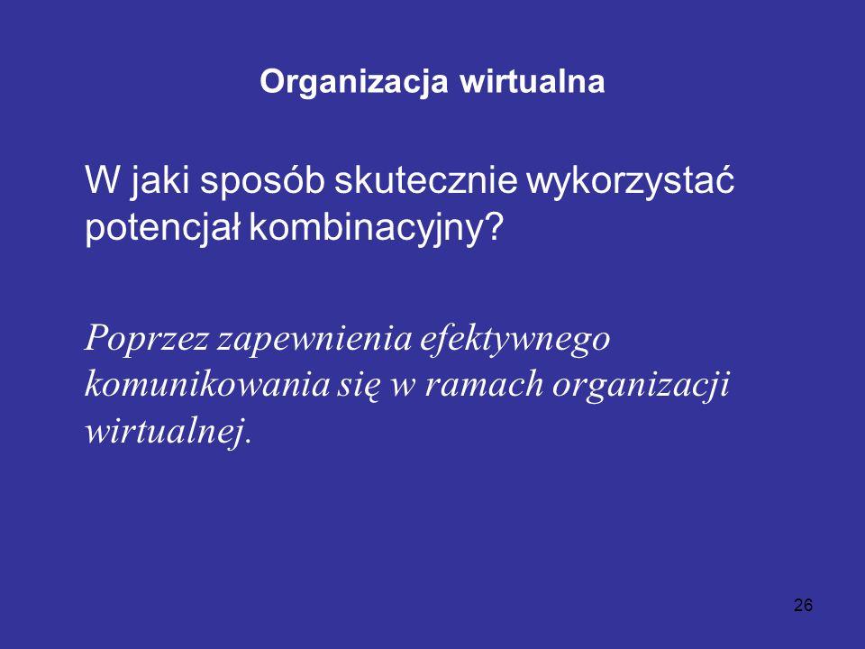 26 Organizacja wirtualna W jaki sposób skutecznie wykorzystać potencjał kombinacyjny? Poprzez zapewnienia efektywnego komunikowania się w ramach organ