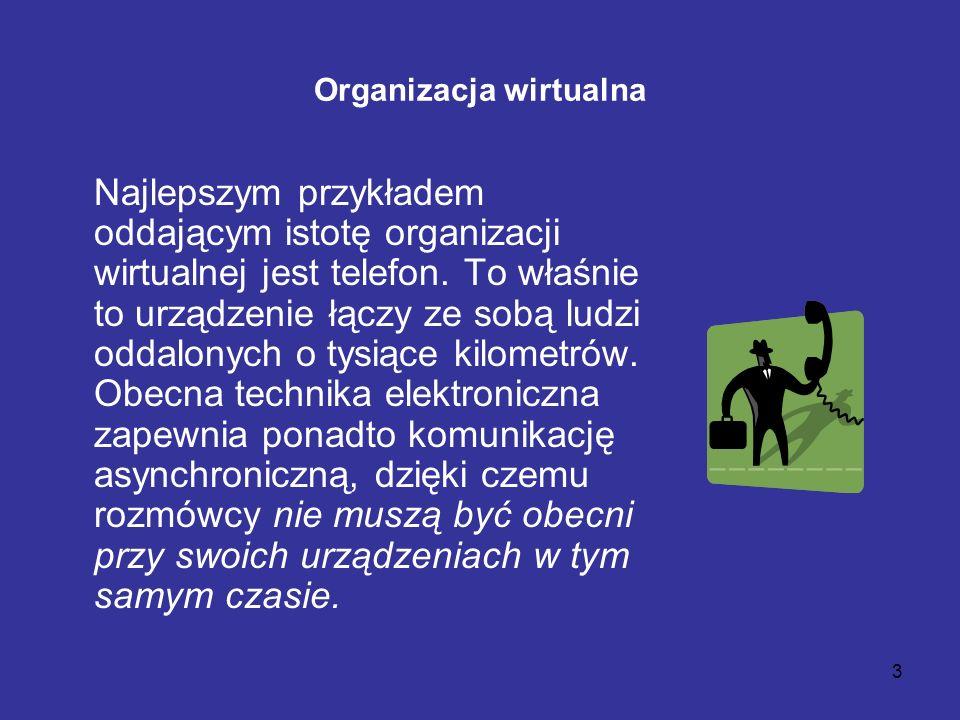 3 Organizacja wirtualna Najlepszym przykładem oddającym istotę organizacji wirtualnej jest telefon. To właśnie to urządzenie łączy ze sobą ludzi oddal