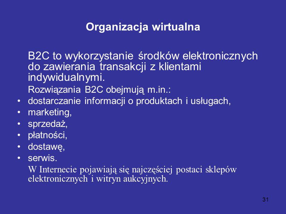 31 Organizacja wirtualna B2C to wykorzystanie środków elektronicznych do zawierania transakcji z klientami indywidualnymi. Rozwiązania B2C obejmują m.