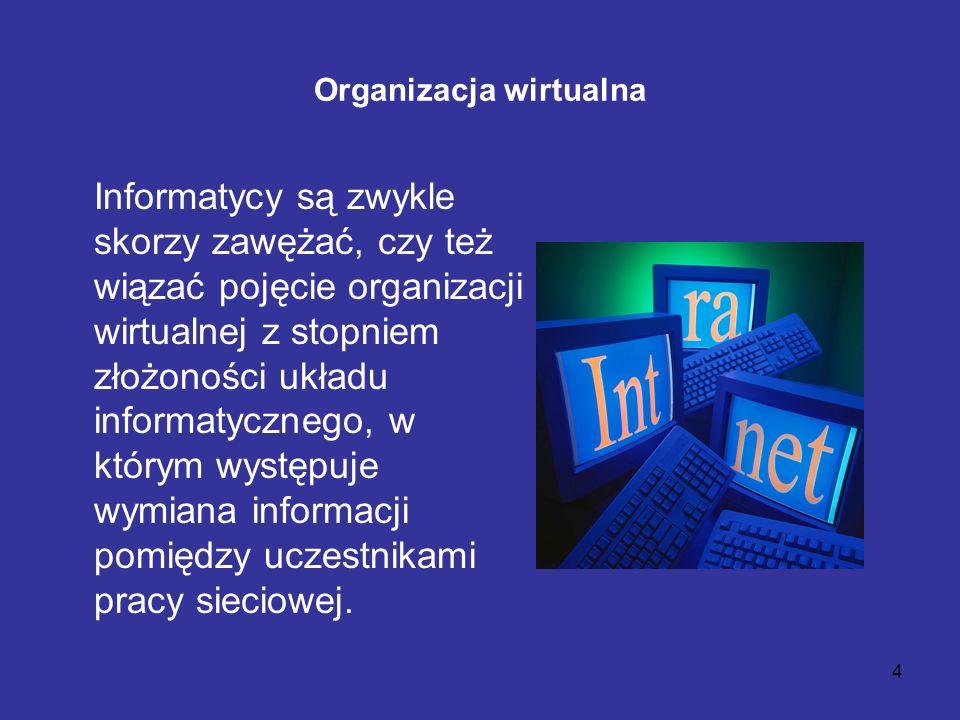 4 Organizacja wirtualna Informatycy są zwykle skorzy zawężać, czy też wiązać pojęcie organizacji wirtualnej z stopniem złożoności układu informatyczne