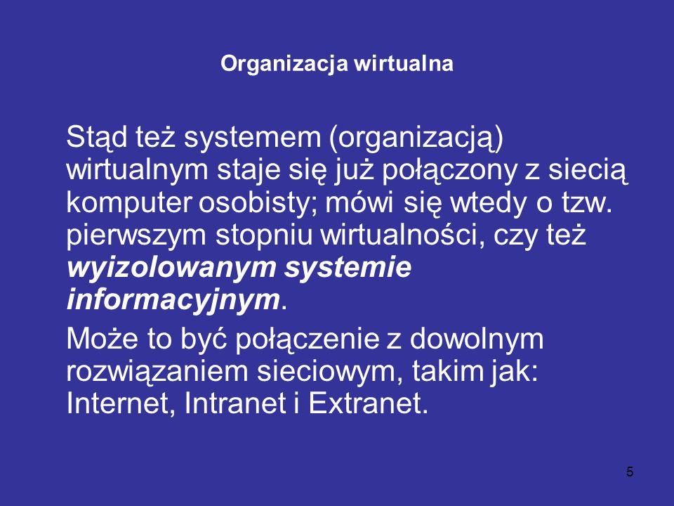 5 Organizacja wirtualna Stąd też systemem (organizacją) wirtualnym staje się już połączony z siecią komputer osobisty; mówi się wtedy o tzw. pierwszym