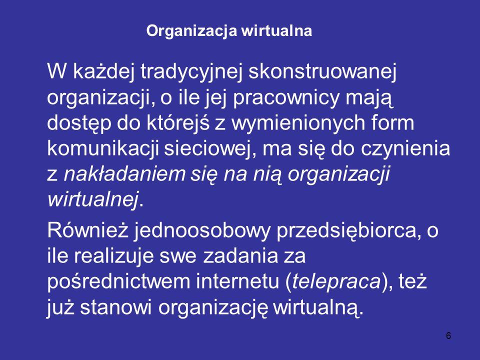 6 Organizacja wirtualna W każdej tradycyjnej skonstruowanej organizacji, o ile jej pracownicy mają dostęp do którejś z wymienionych form komunikacji s