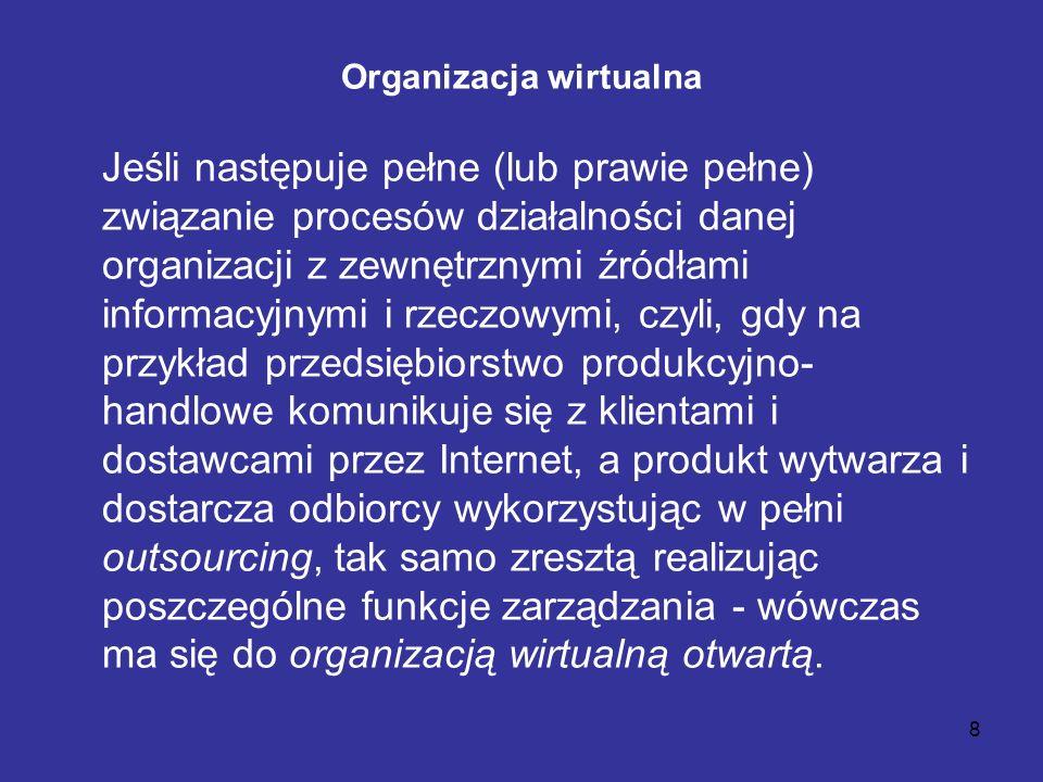 8 Organizacja wirtualna Jeśli następuje pełne (lub prawie pełne) związanie procesów działalności danej organizacji z zewnętrznymi źródłami informacyjn
