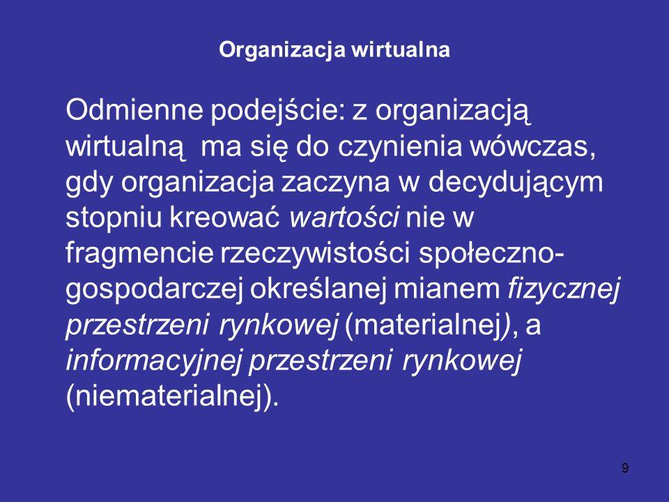 9 Organizacja wirtualna Odmienne podejście: z organizacją wirtualną ma się do czynienia wówczas, gdy organizacja zaczyna w decydującym stopniu kreować