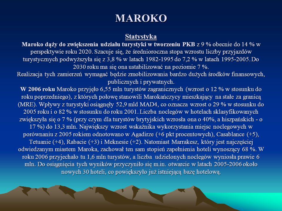 MAROKO Statystyka Maroko dąży do zwiększenia udziału turystyki w tworzeniu PKB z 9 % obecnie do 14 % w perspektywie roku 2020. Szacuje się, że średnio