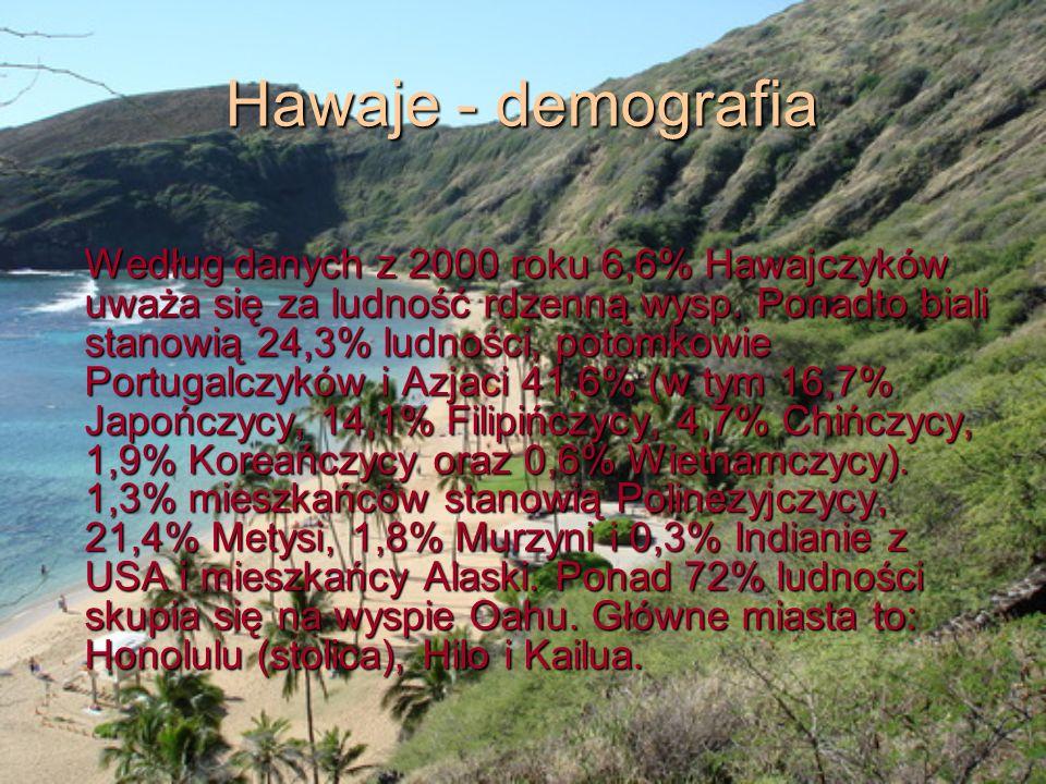Hawaje - demografia Według danych z 2000 roku 6,6% Hawajczyków uważa się za ludność rdzenną wysp. Ponadto biali stanowią 24,3% ludności, potomkowie Po