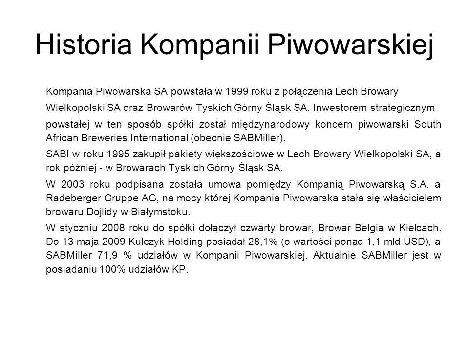 Historia Kompanii Piwowarskiej Kompania Piwowarska SA powstała w 1999 roku z połączenia Lech Browary Wielkopolski SA oraz Browarów Tyskich Górny Śląsk SA.