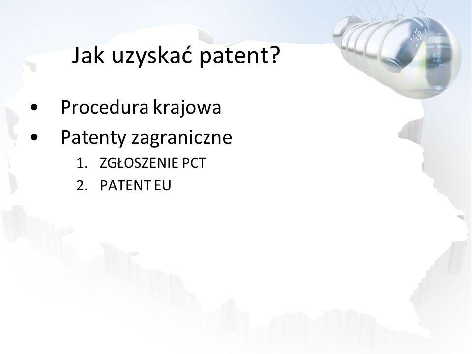 Jak uzyskać patent? Procedura krajowa Patenty zagraniczne 1.ZGŁOSZENIE PCT 2.PATENT EU
