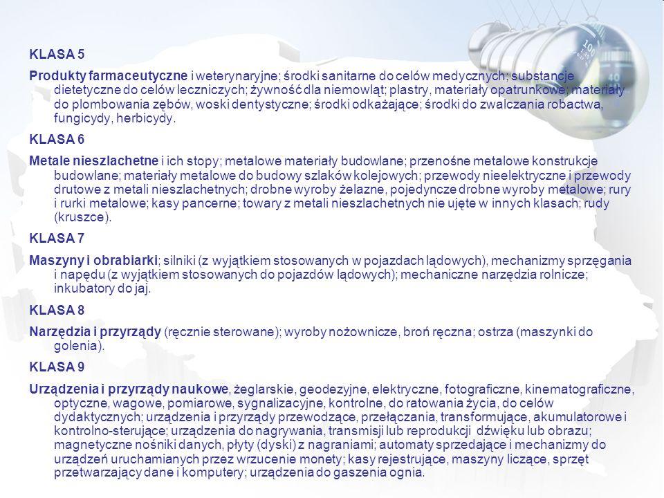 KLASA 5 Produkty farmaceutyczne i weterynaryjne; środki sanitarne do celów medycznych; substancje dietetyczne do celów leczniczych; żywność dla niemow
