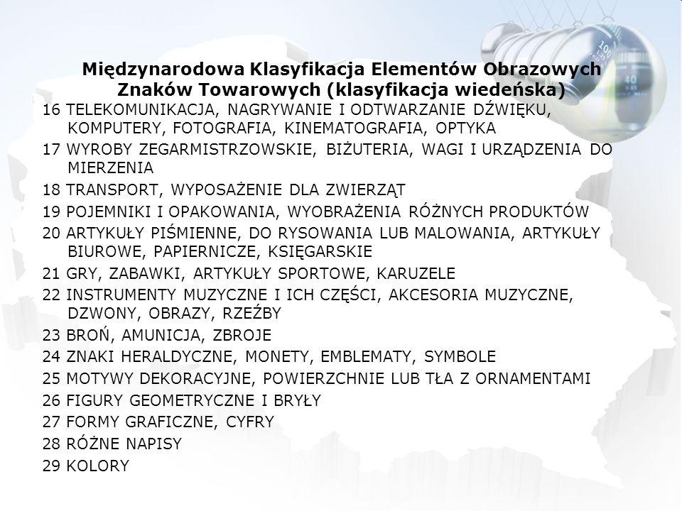 Międzynarodowa Klasyfikacja Elementów Obrazowych Znaków Towarowych (klasyfikacja wiedeńska) 16 TELEKOMUNIKACJA, NAGRYWANIE I ODTWARZANIE DŹWIĘKU, KOMP