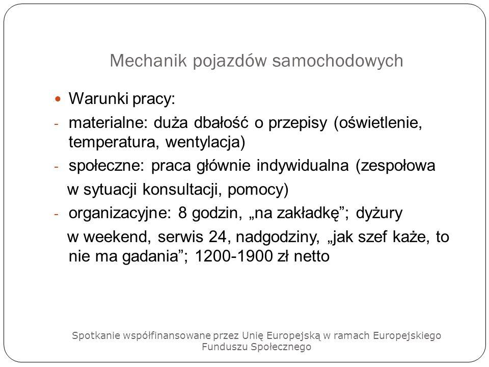 Mechanik pojazdów samochodowych Warunki pracy: - materialne: duża dbałość o przepisy (oświetlenie, temperatura, wentylacja) - społeczne: praca głównie