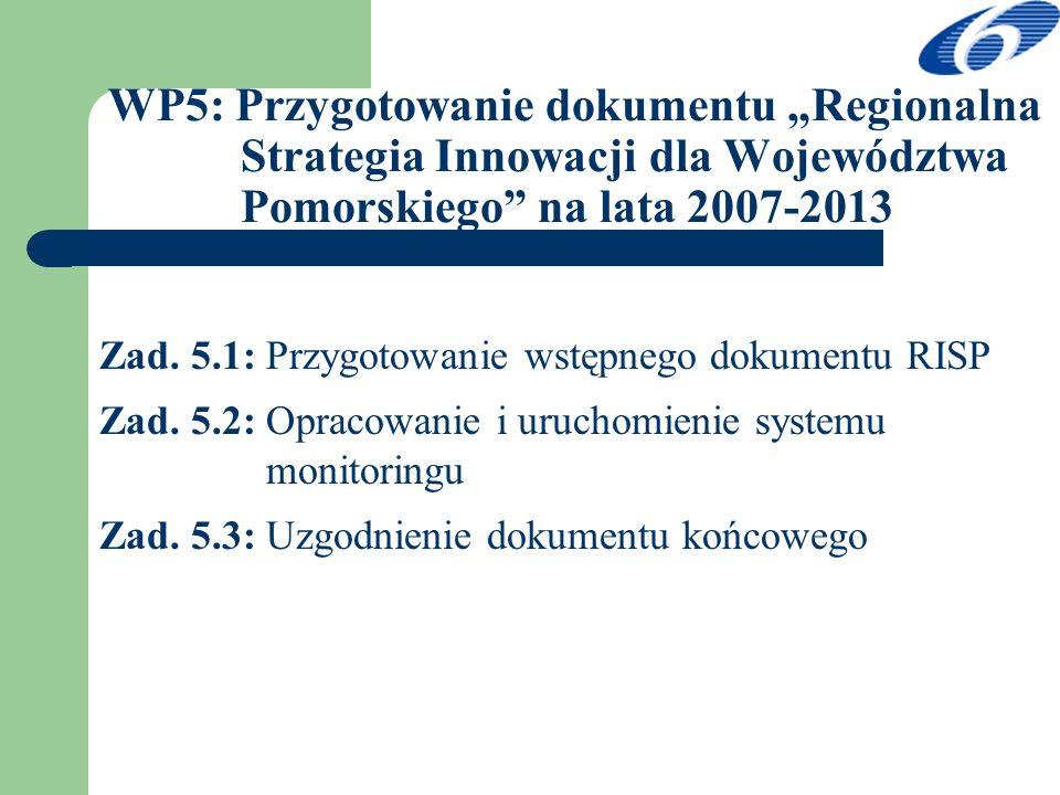 WP5: Przygotowanie dokumentu Regionalna Strategia Innowacji dla Województwa Pomorskiego na lata 2007-2013 Zad. 5.1: Przygotowanie wstępnego dokumentu